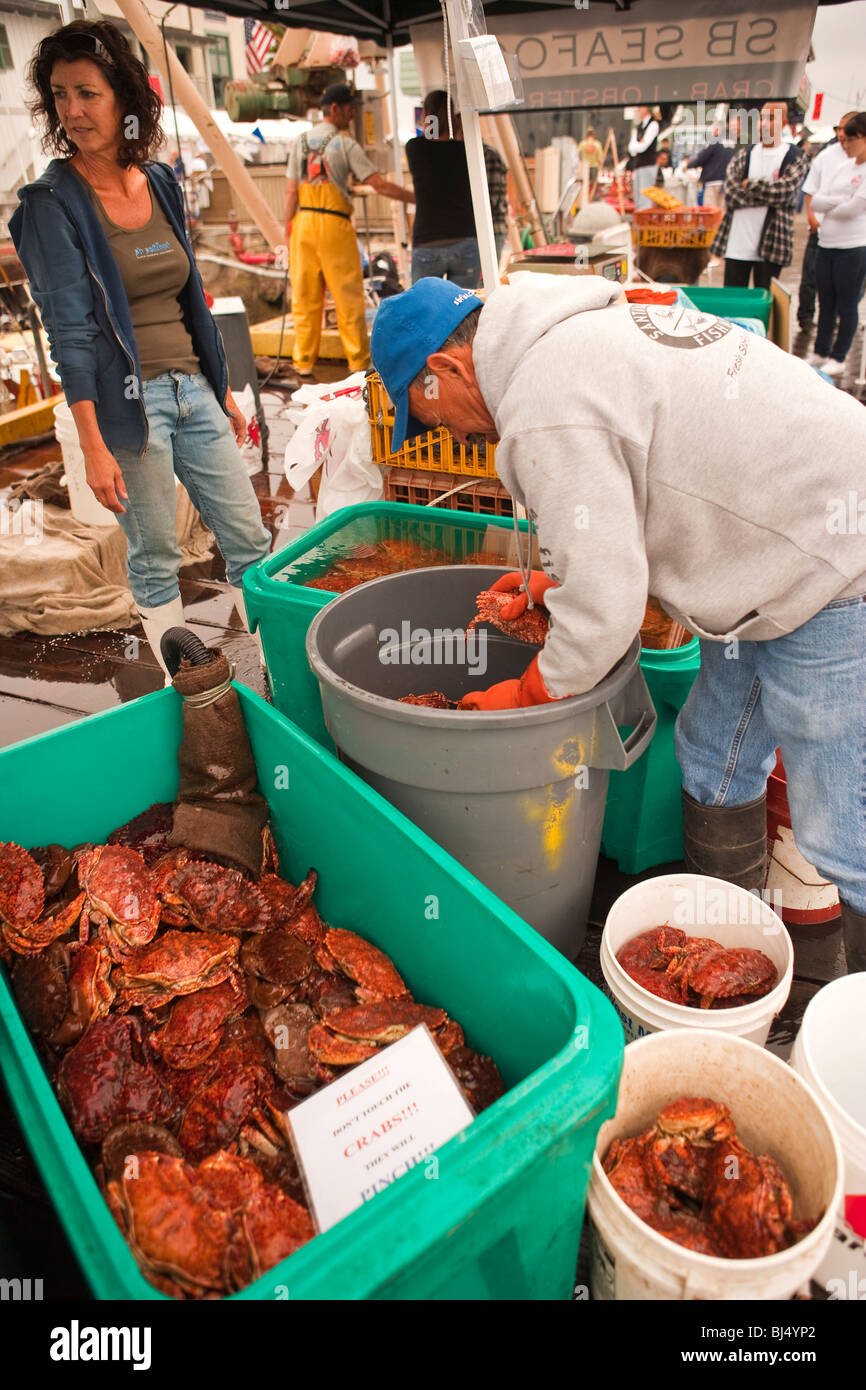 crustaceans for sale at the Harbor and Seafood Festival, Santa Barbara, California, United States of America - Stock Image