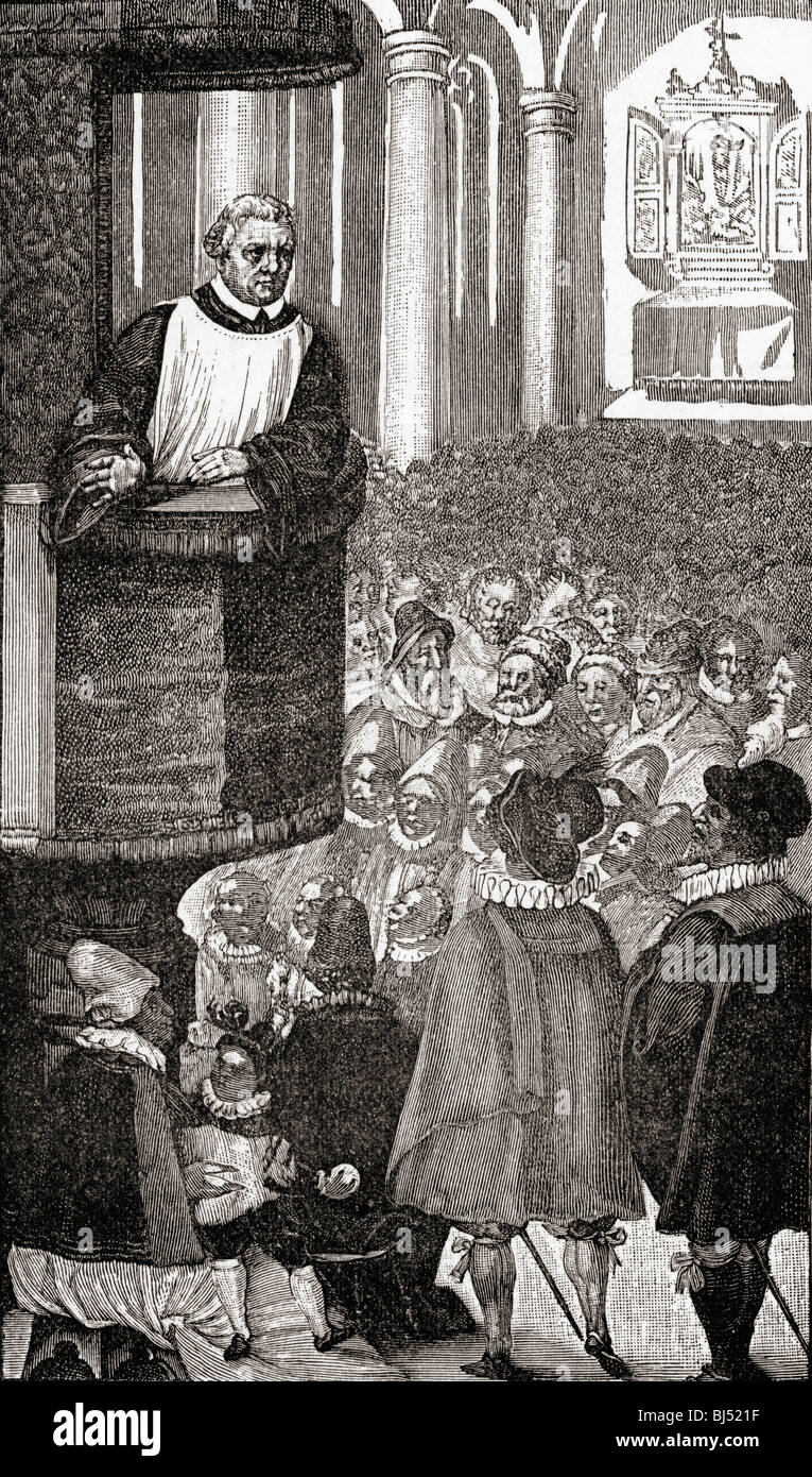 Luther Preaching.  Martin Luther, 1483–1546.  German monk, theologian, and father of Protestantism. - Stock Image