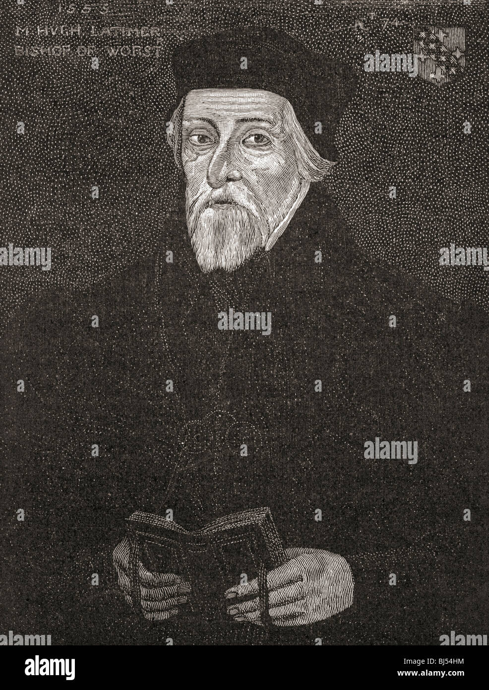 Hugh Latimer, c.1487 to 1555. Anglican bishop and martyr - Stock Image