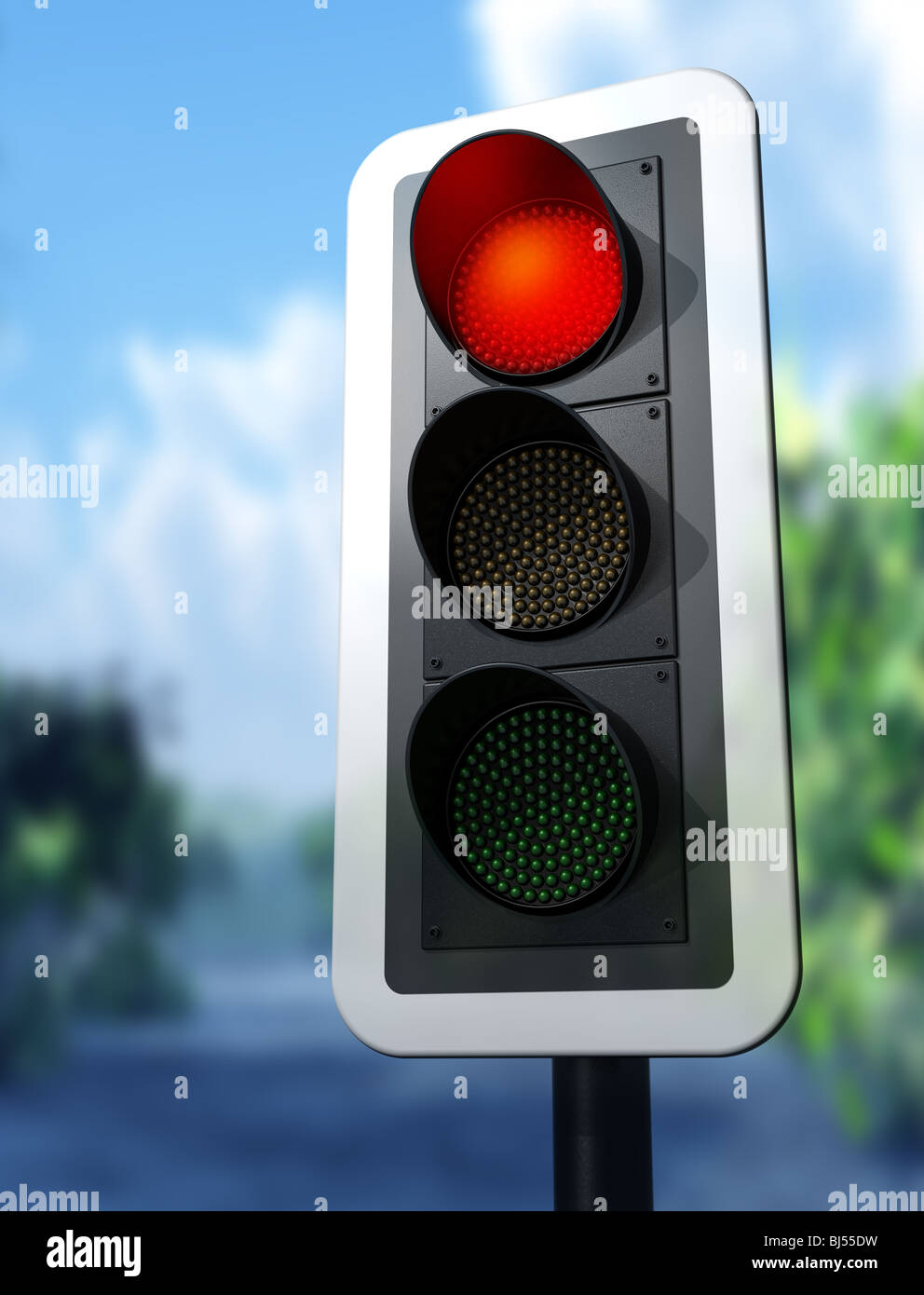 Illustration of a red traffic light on a country road - Stock Image