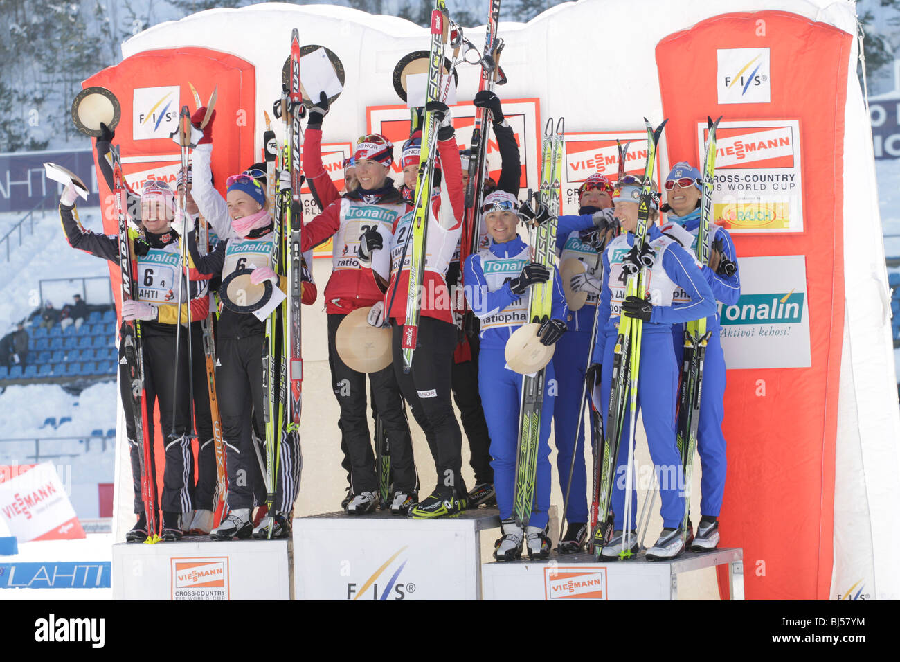 The winners of the FIS World Cup Cross Country, Ladies 4 x 5 km Classic/Free Relay competition in Lahti Stock Photo