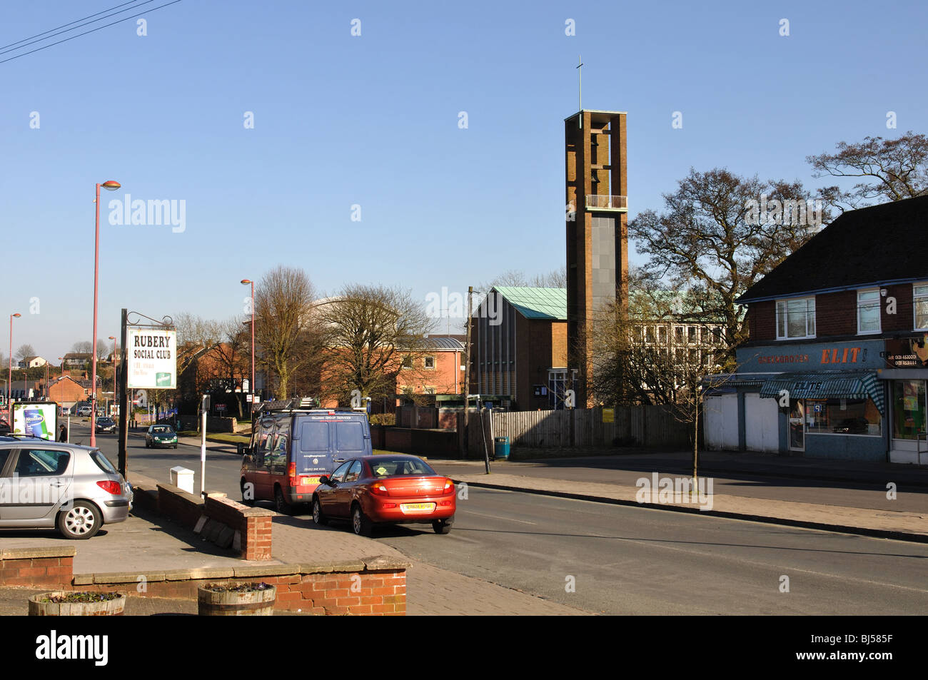 New Road and St. Chad`s Church, Rubery, Worcestershire, England, UK - Stock Image
