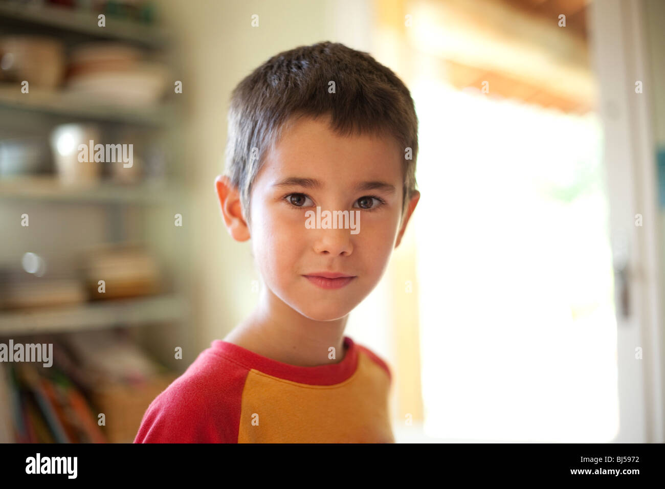 portrait of 6 year old boy - Stock Image