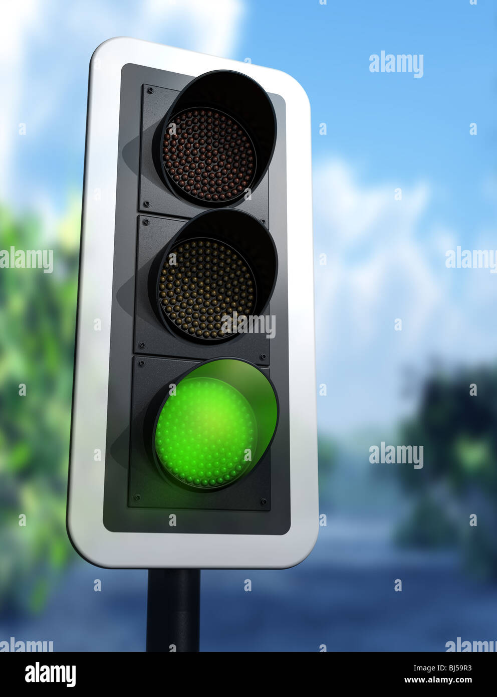 Illustration of a green traffic light on a country road - Stock Image