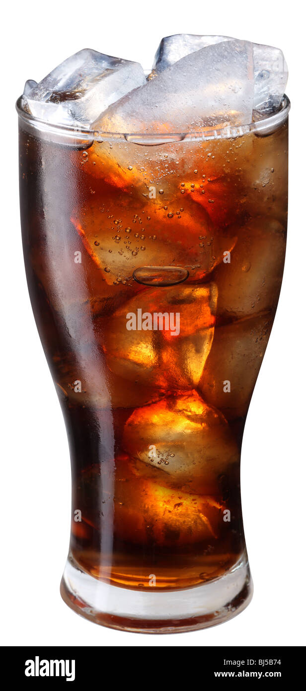 Glass of cola with ice - Stock Image