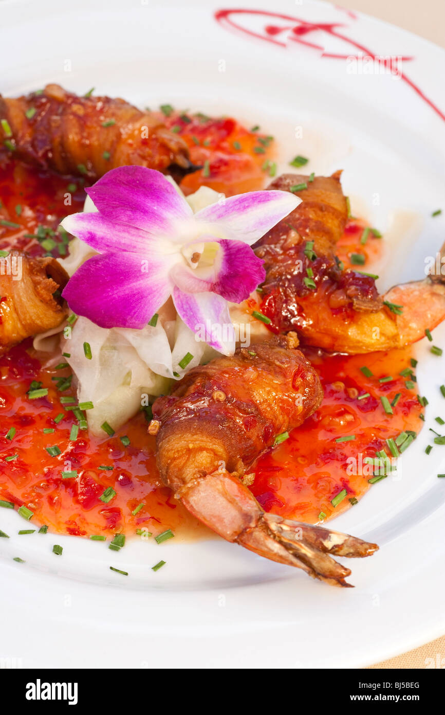 bacon-wrapped stuffed shrimp, Holdren's Steaks and Seafood, Goleta, California, United States of America - Stock Image