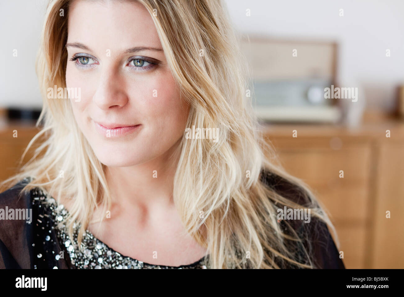 beautiful woman smiling - Stock Image