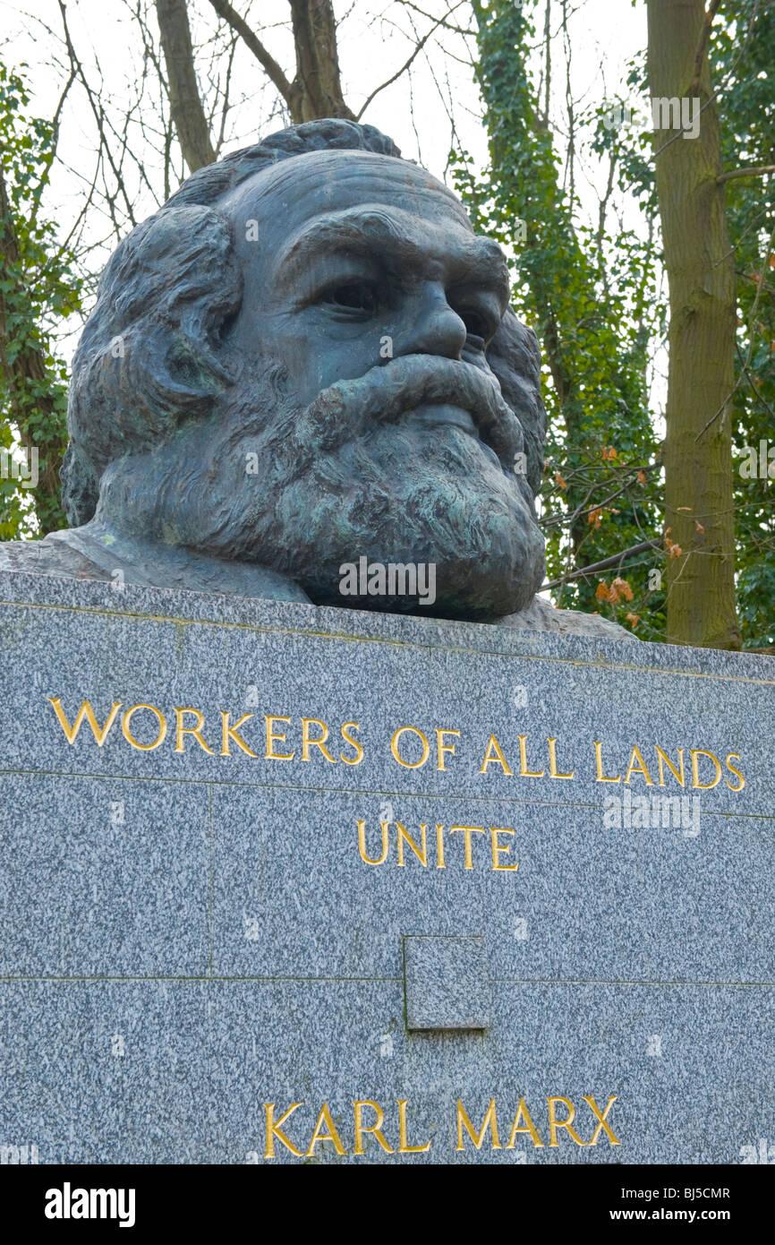 Highgate Cemetery , grave of Karl Marx , philosopher , political theorist , socialist , revolutionary & founder - Stock Image