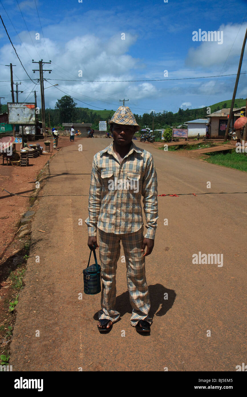 Africa Cameroon Streets Wum Younger Men - Stock Image