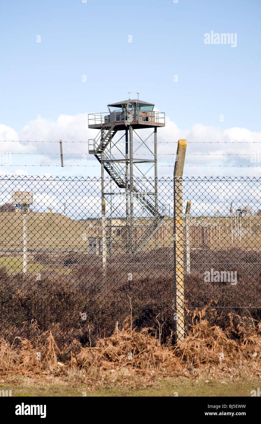 Perimeter security fence at former USAF Woodbridge, Suffolk, England - Stock Image
