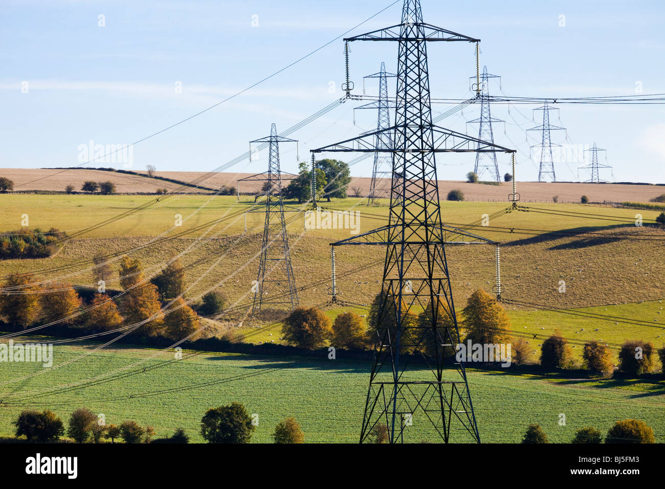 Pylons striding across the Cotswold countryside near Cassey Compton, Gloucestershire - Stock Image