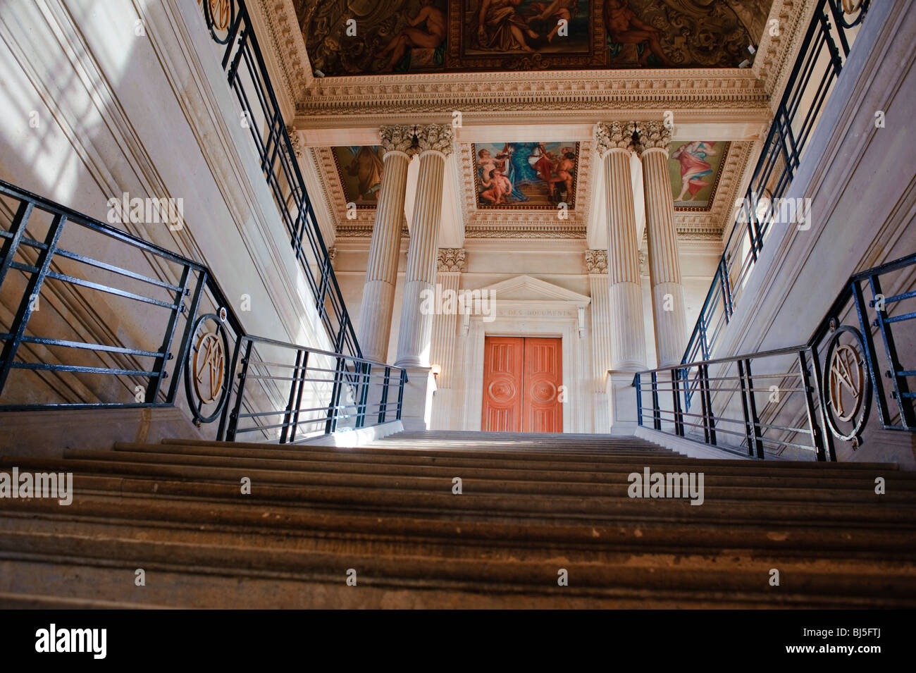 """Paris, France, French Monuments, Museum, Interior, Main Staircase,  """"Hotel de Soubise"""" Stock Photo"""