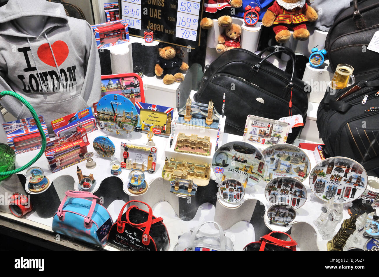 Window of London gift shop with souvenirs - Stock Image