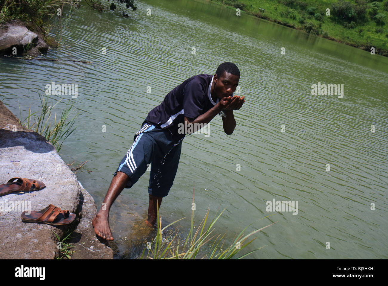 Africa Cameroon Lake Nyos Younger Men - Stock Image