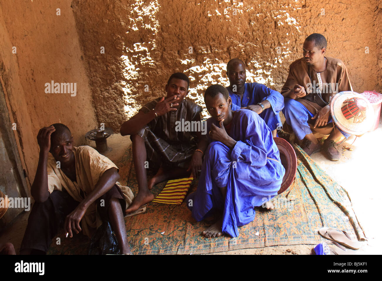 Africa Boni Mali Streets Younger Men - Stock Image