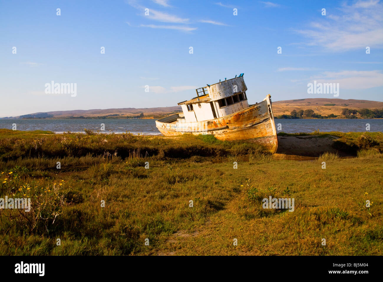 An old weathered boat at Point Reyes, California - Stock Image