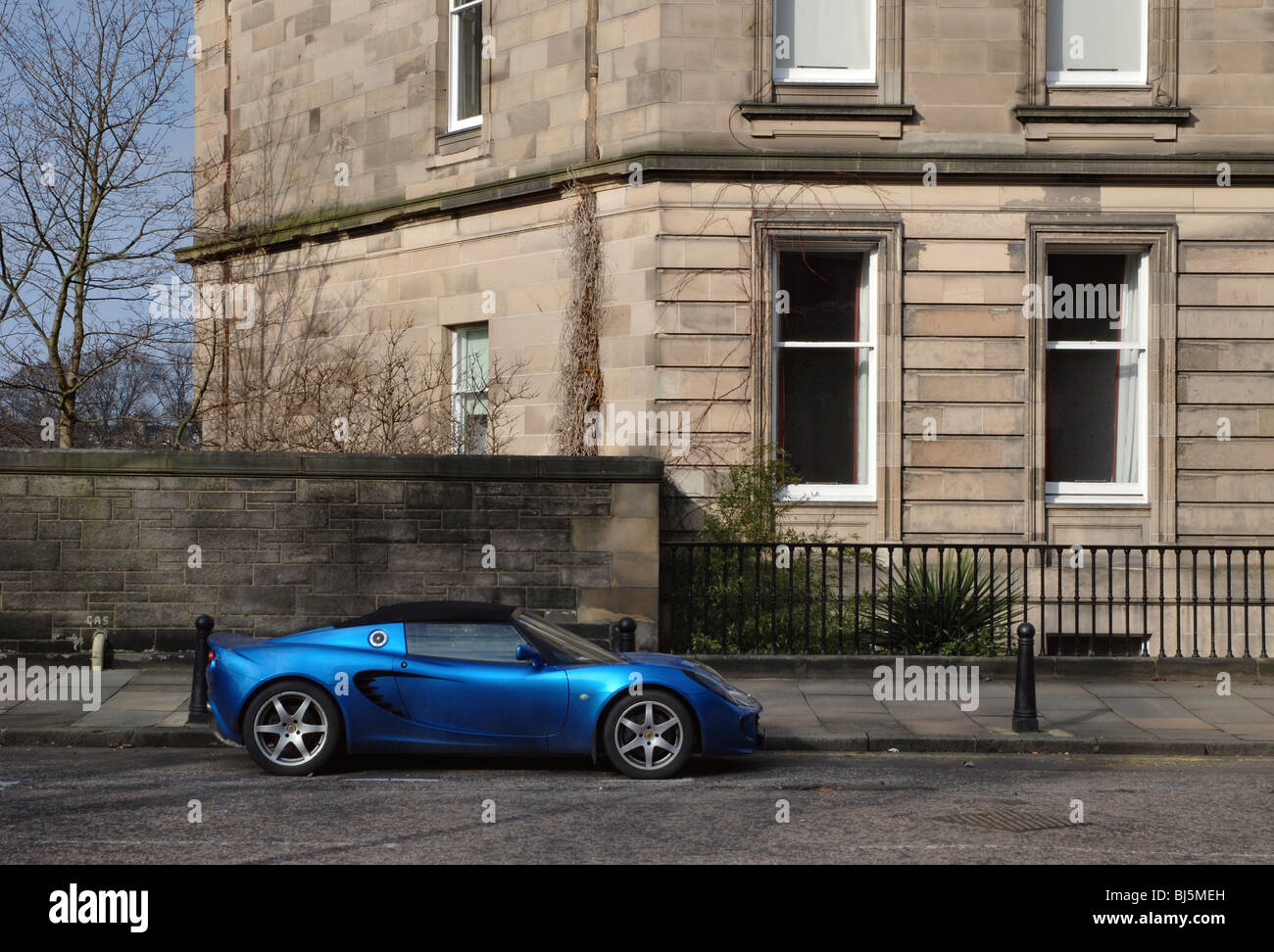 Blue Lotus Elise Parked In Edinburghu0027s West End.   Stock Image