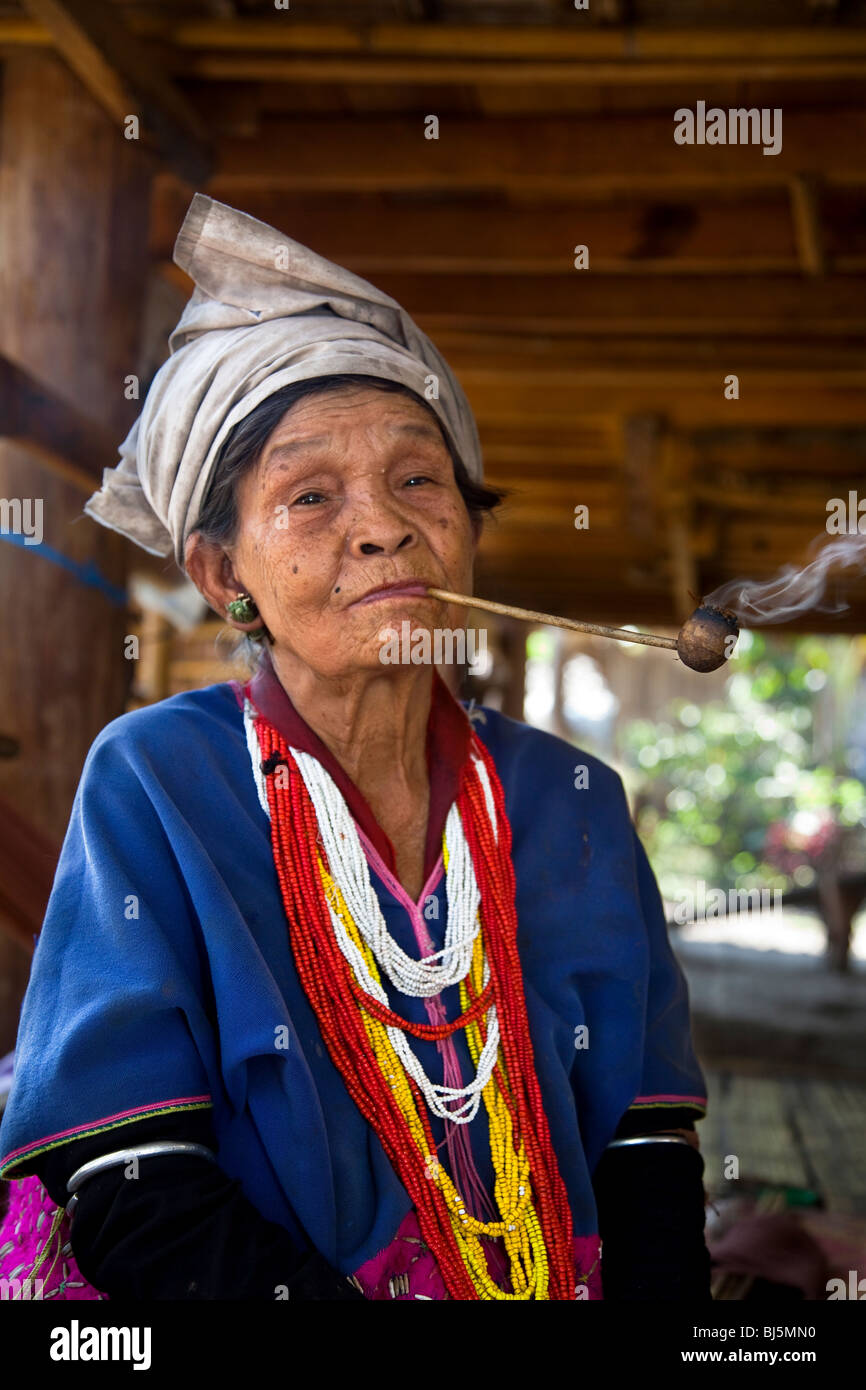 Colourful female hand woven clothing & traditional tribal costume of people in Northern Thailand. Thai ethnic - Stock Image
