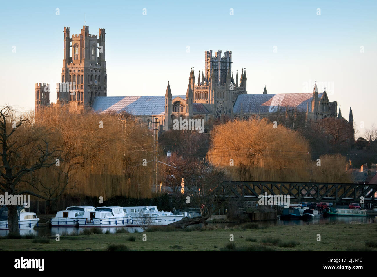 Ely cathedral at sunset, Ely, Cambridgeshire, UK - Stock Image