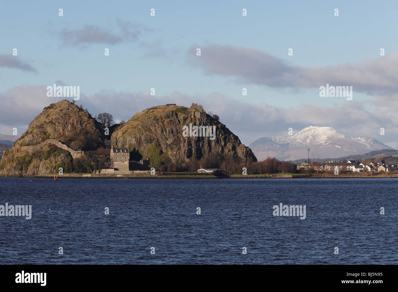 Looking across the River Clyde to Dumbarton Rock and Castle in West Dunbartonshire Scotland UK - Stock Image