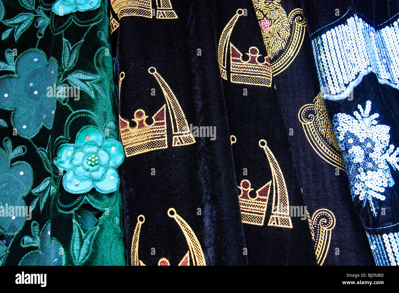 Africa Cameroon Mamfe Market Textile Textiles - Stock Image