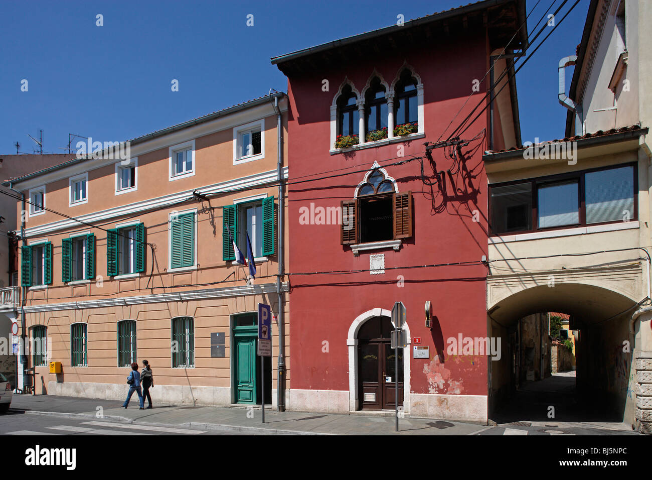 Koper,De Rin house,15th century,old town,typical houses,Slovenia - Stock Image