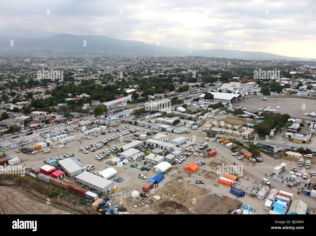 Aerial of UN Logistics Base Port au Prince Haiti - Stock Image