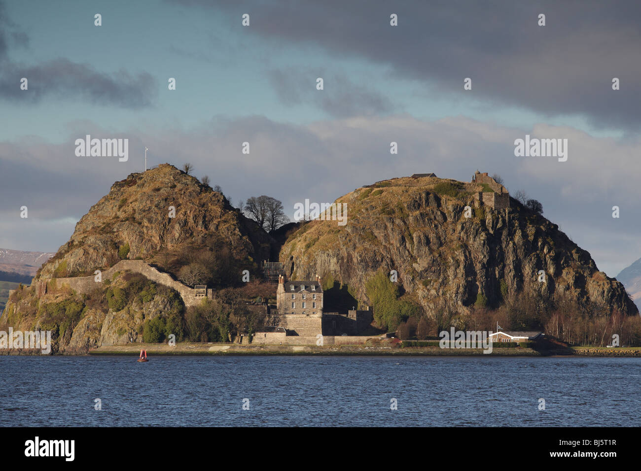 Looking across the River Clyde to Dumbarton Rock and Castle in West Dunbartonshire, Scotland, UK - Stock Image