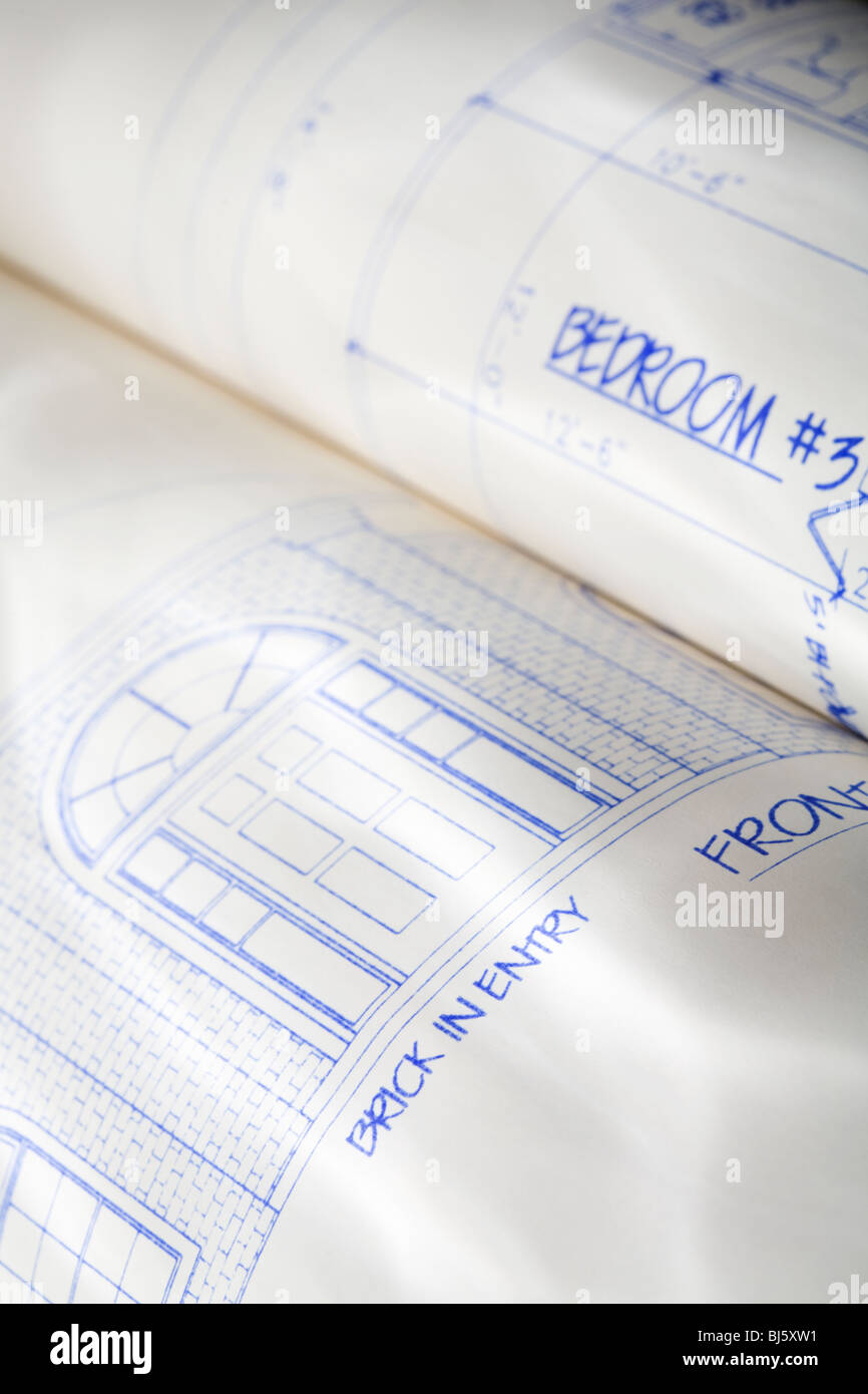 Rolled up plans for a house - Stock Image