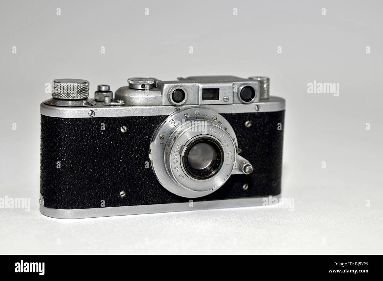 Old Soviet photo camera FED - Stock Image