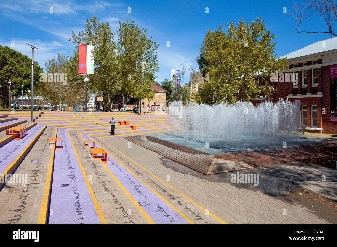 Water fountain in the Perth Cultural Centre next to the library, museum and art gallery. - Stock Image
