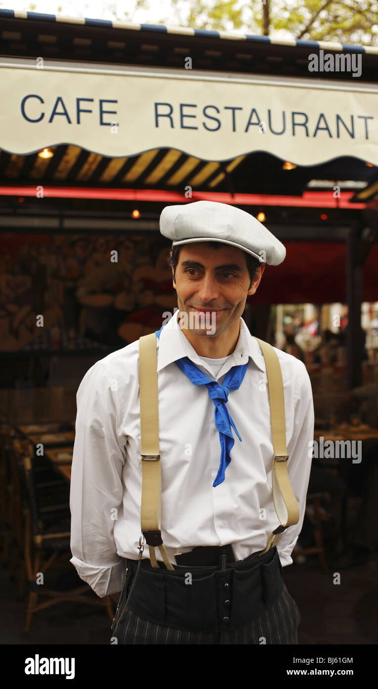 French waiter, Paris, France - Stock Image