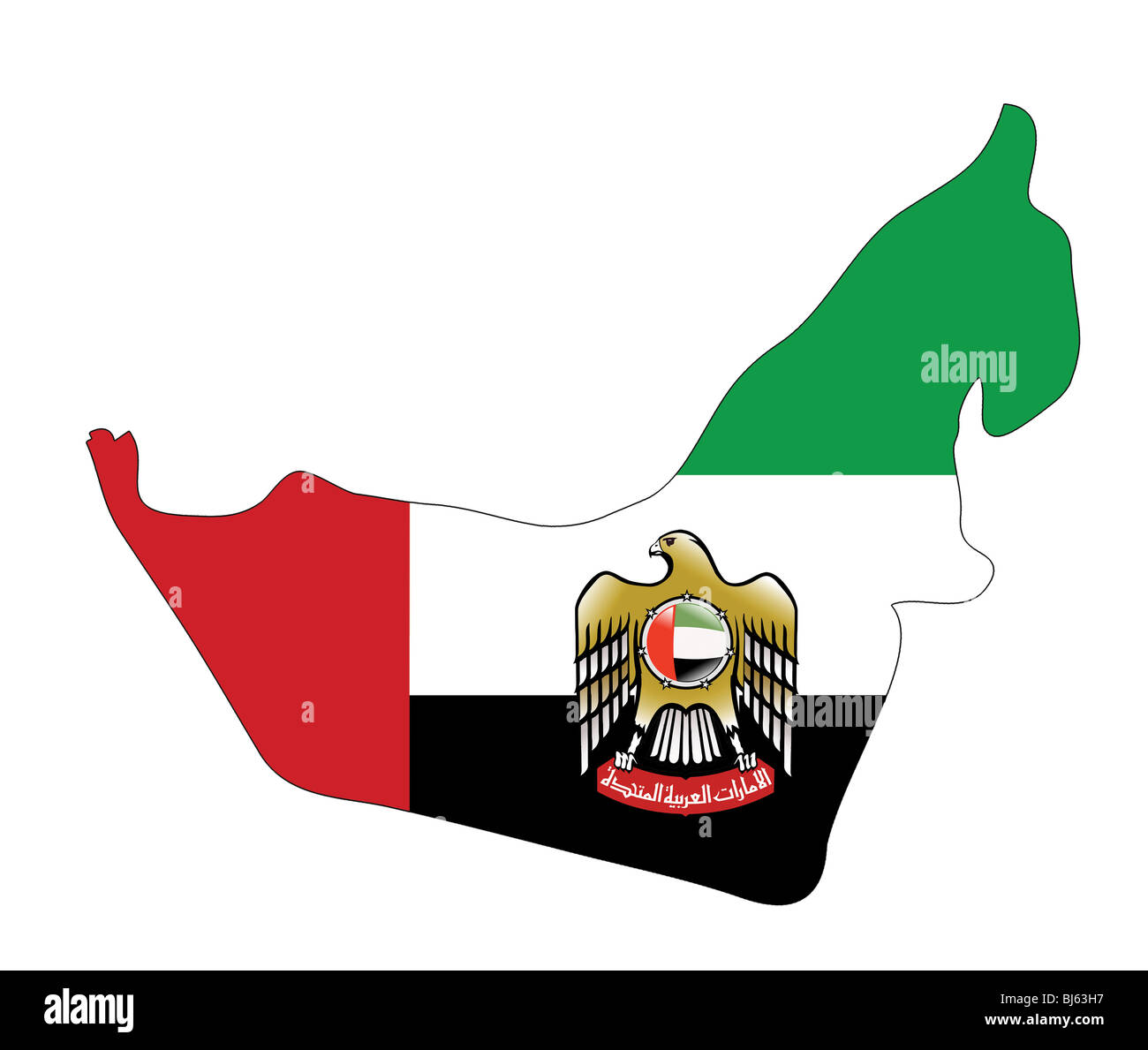 united arab emirates map with coat of arms stock image