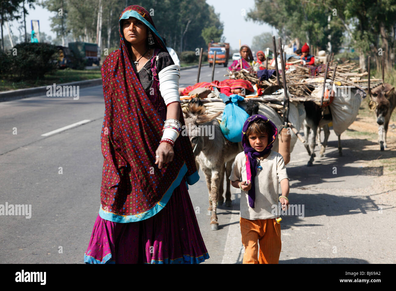Indian nomads on the move. - Stock Image