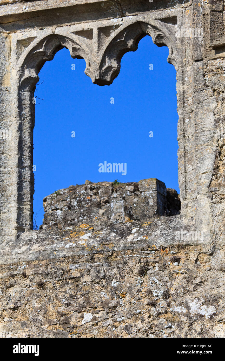 Window detail from the ruins of  Godstow Nunnery, Wolvercote, Oxford, Oxfordshire, - Stock Image