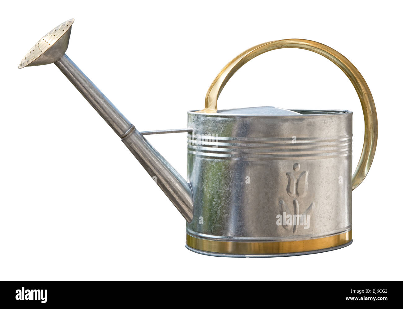Antique Watering Can isolated on white - Stock Image