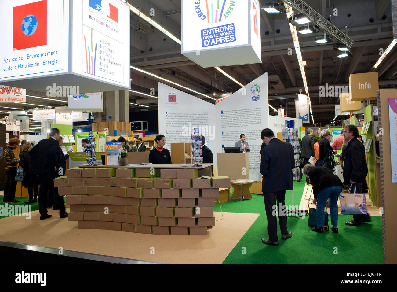 Paris, France, Businessmen Visiting Construction Equipment Trade Show, Ecological Education, French Government Information Stock Photo