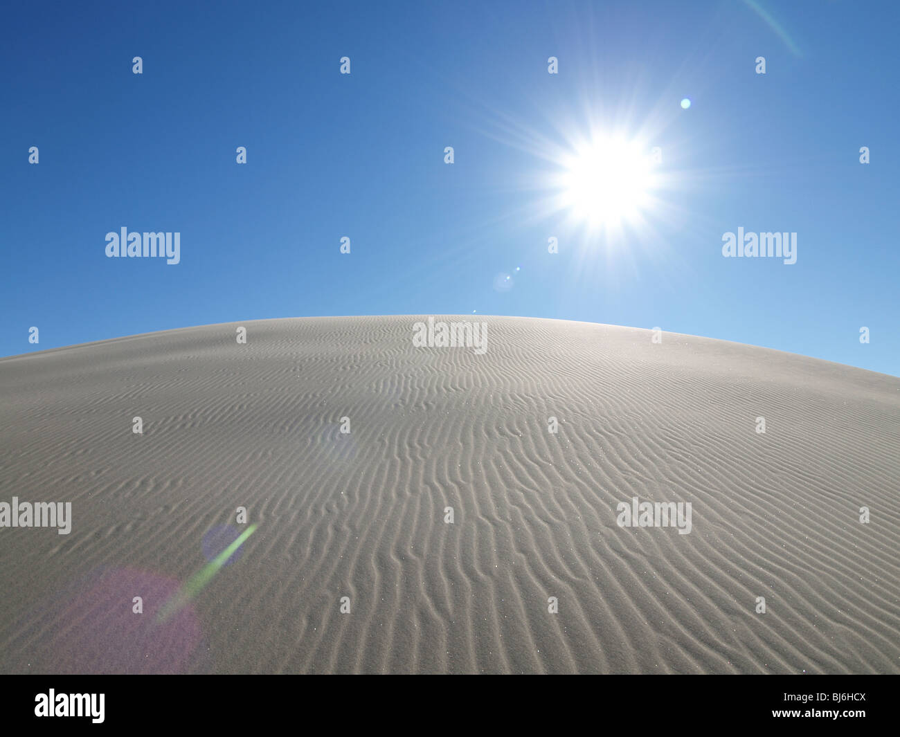 Blazing sun at Dumont Dunes in the California Mojave Desert. - Stock Image