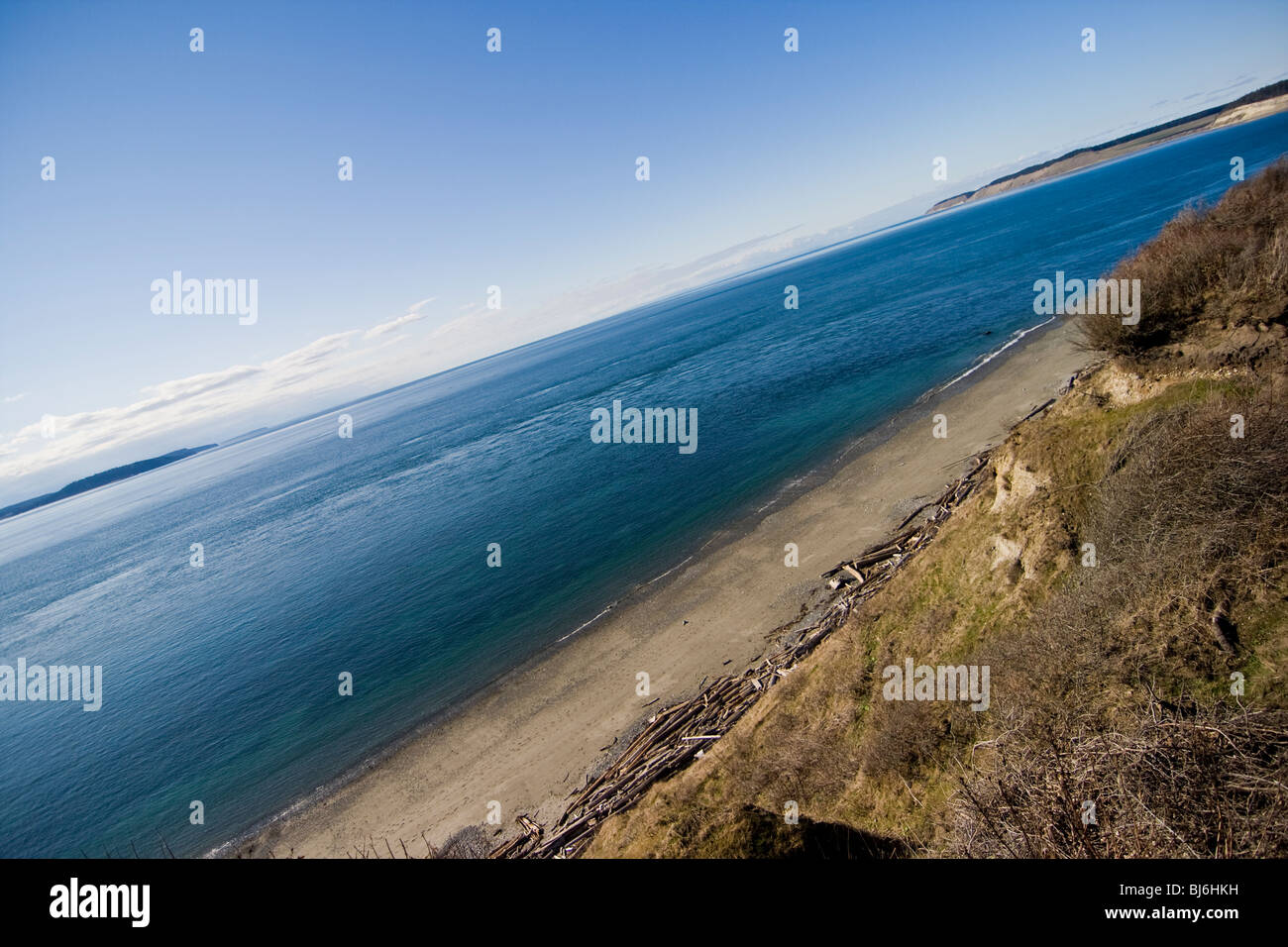 Whidbey Island beach coastline from fort casey lighthouse - Stock Image