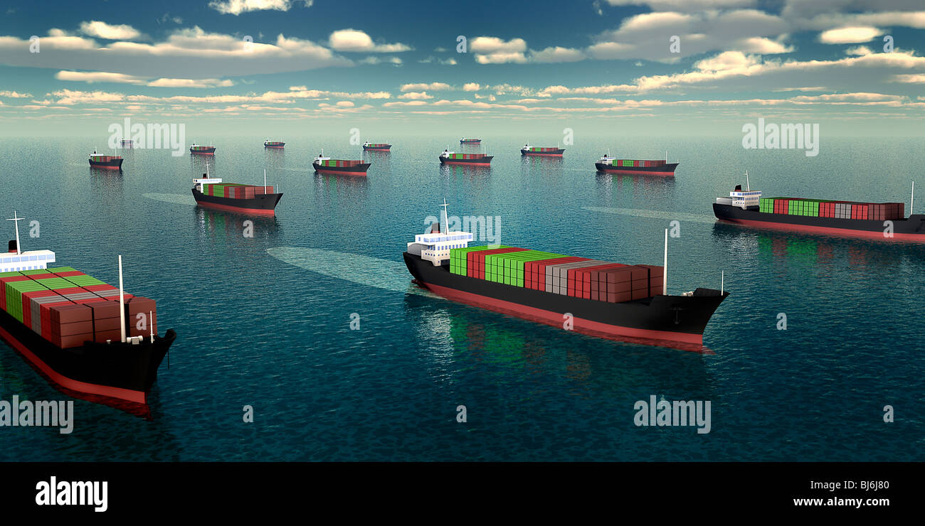 Many container vessels on the sea - Stock Image