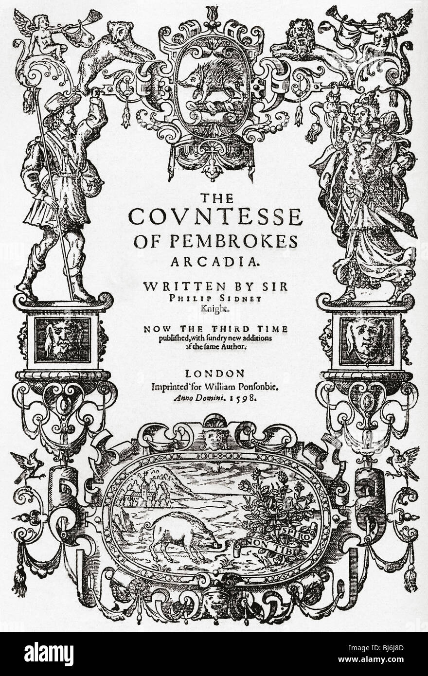 Frontispiece to 'The Countess of Pembroke's Arcadia' by Sir Philip Sidney, 1598. - Stock Image