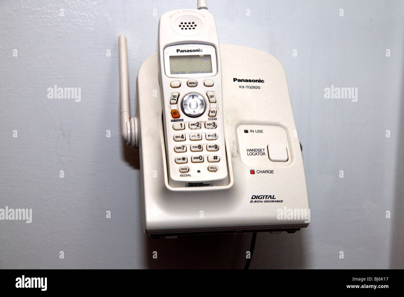 Panasonic digital telephone mounted on wall. St Paul Minnesota USA - Stock Image