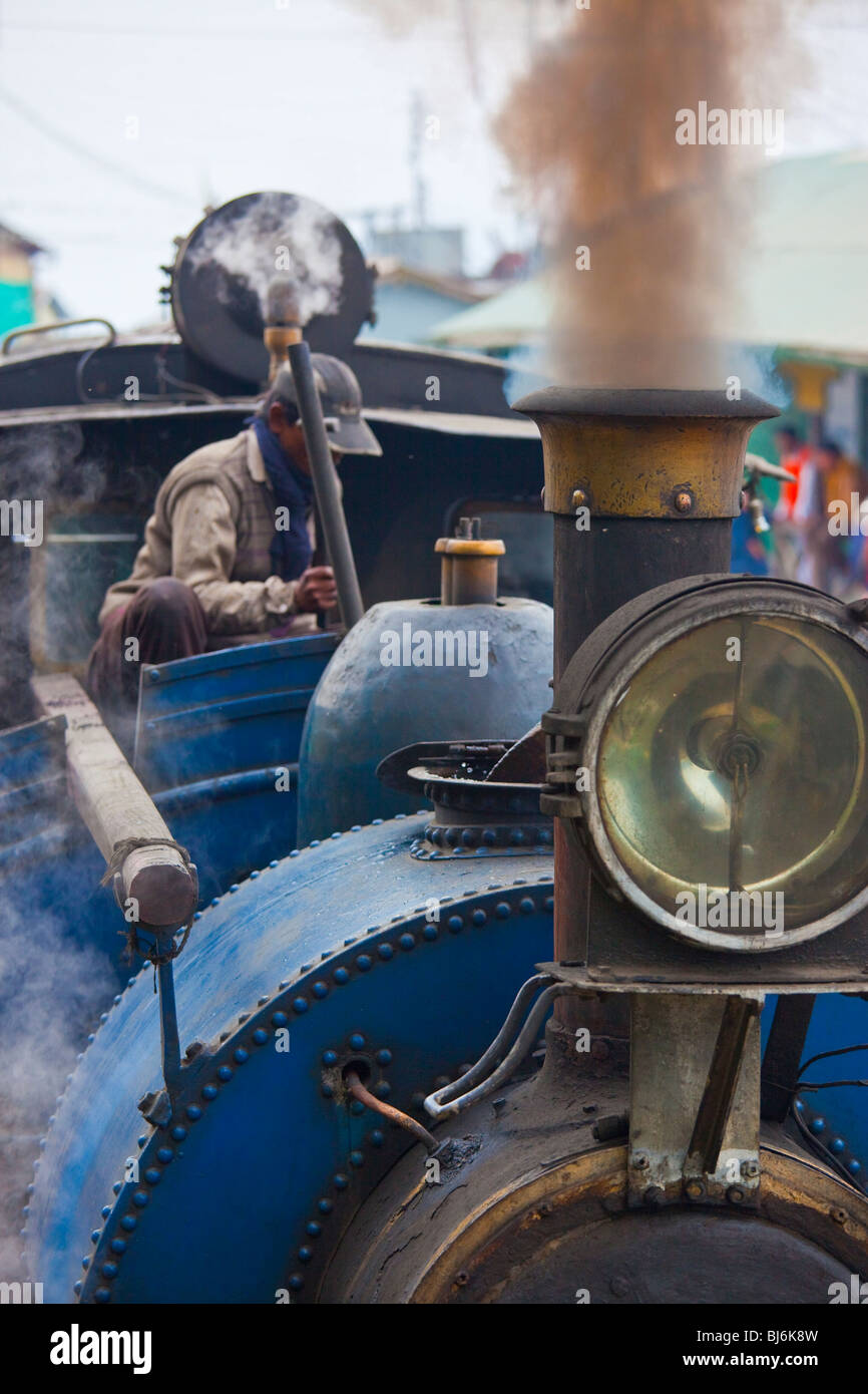 Steam Engine on the Darjeeling Himalayan Railway Toy Train in Darjeeling India - Stock Image