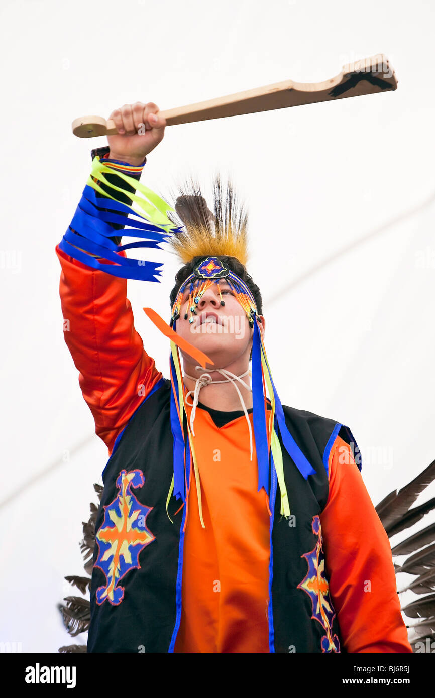 Portrait of a proud native Canadian/ first nations dancer.  Winnipeg, Manitoba, Canada. - Stock Image