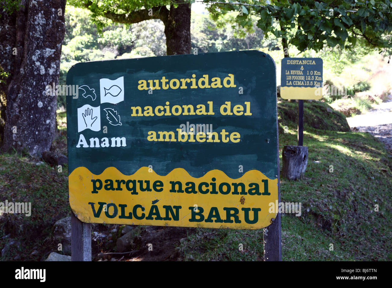 ANAM sign at entrance to Volcan Baru National Park, near Boquete, Chiriqui, Panama - Stock Image
