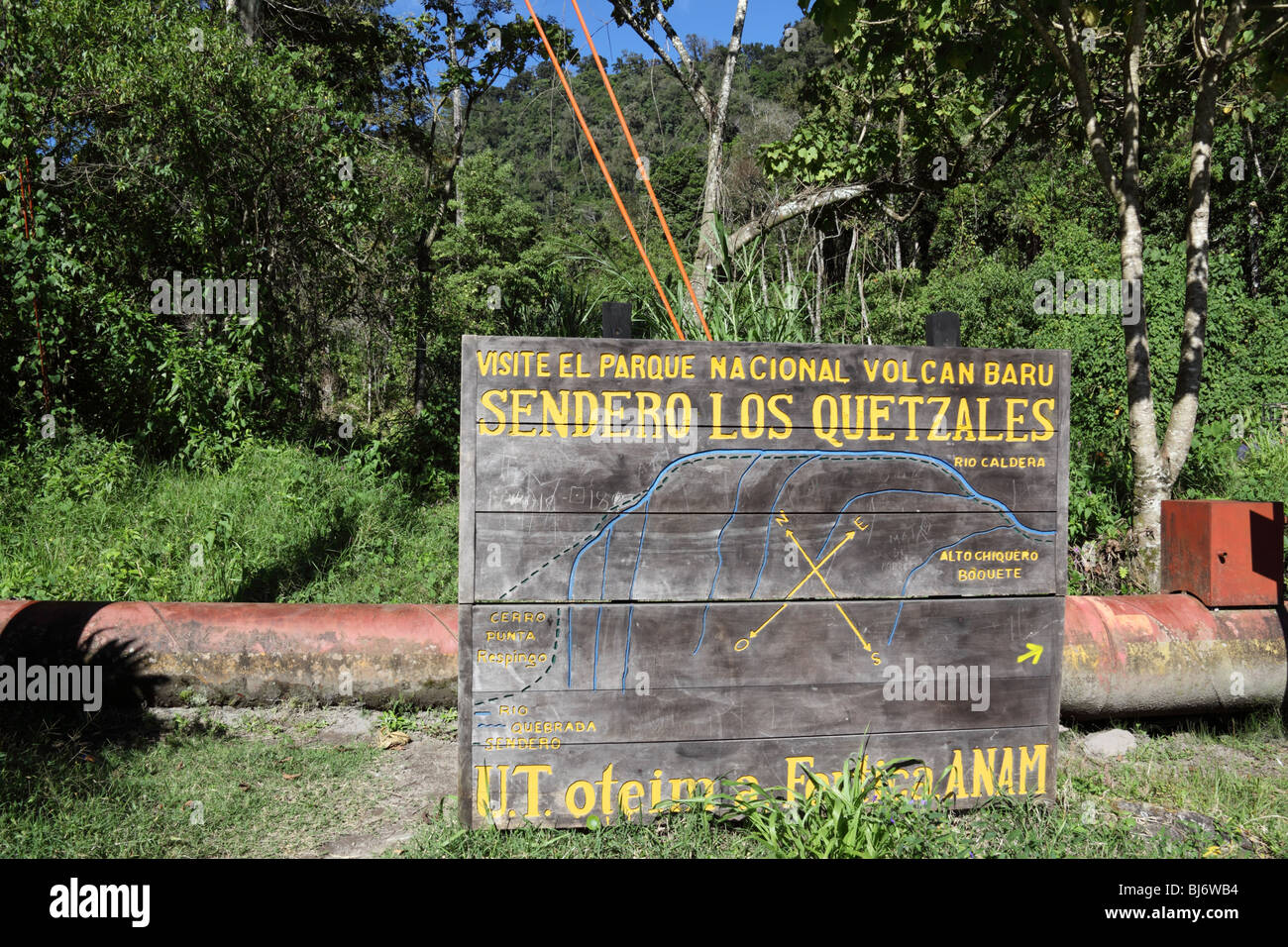 ANAM sign at start of Quetzal Trail, Volcan Baru National Park, near Boquete, Chiriqui, Panama - Stock Image
