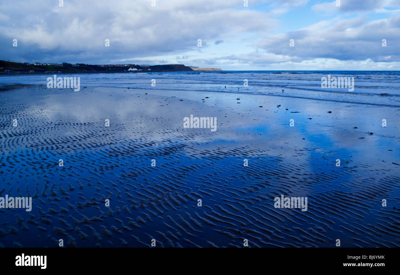 The beach at Scarborough North Bay in North Yorkshire England UK looking north - Stock Image