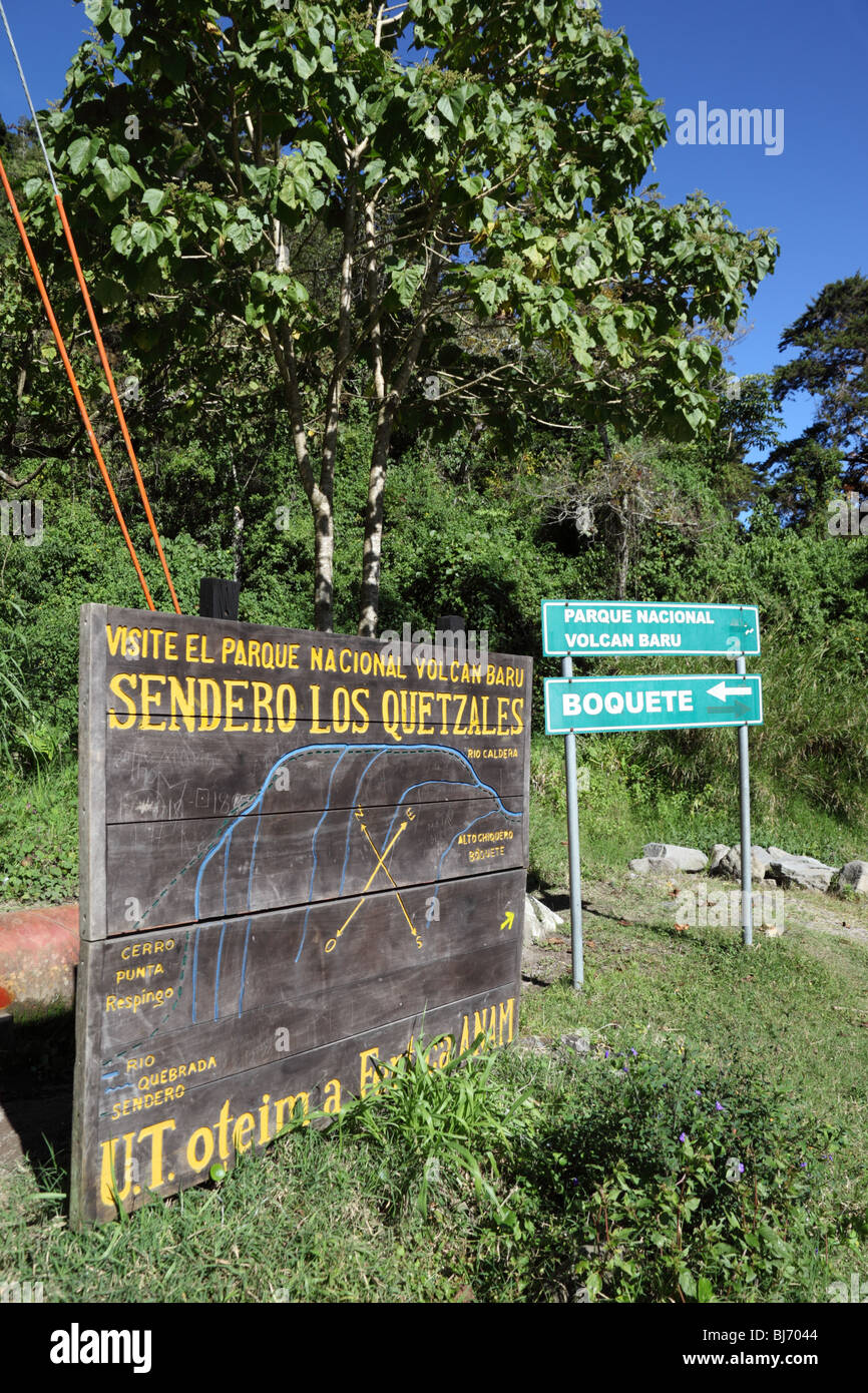 ANAM sign at start of Quetzal Trail through cloud forest, Volcan Baru National Park, near Boquete, Chiriqui, Panama - Stock Image