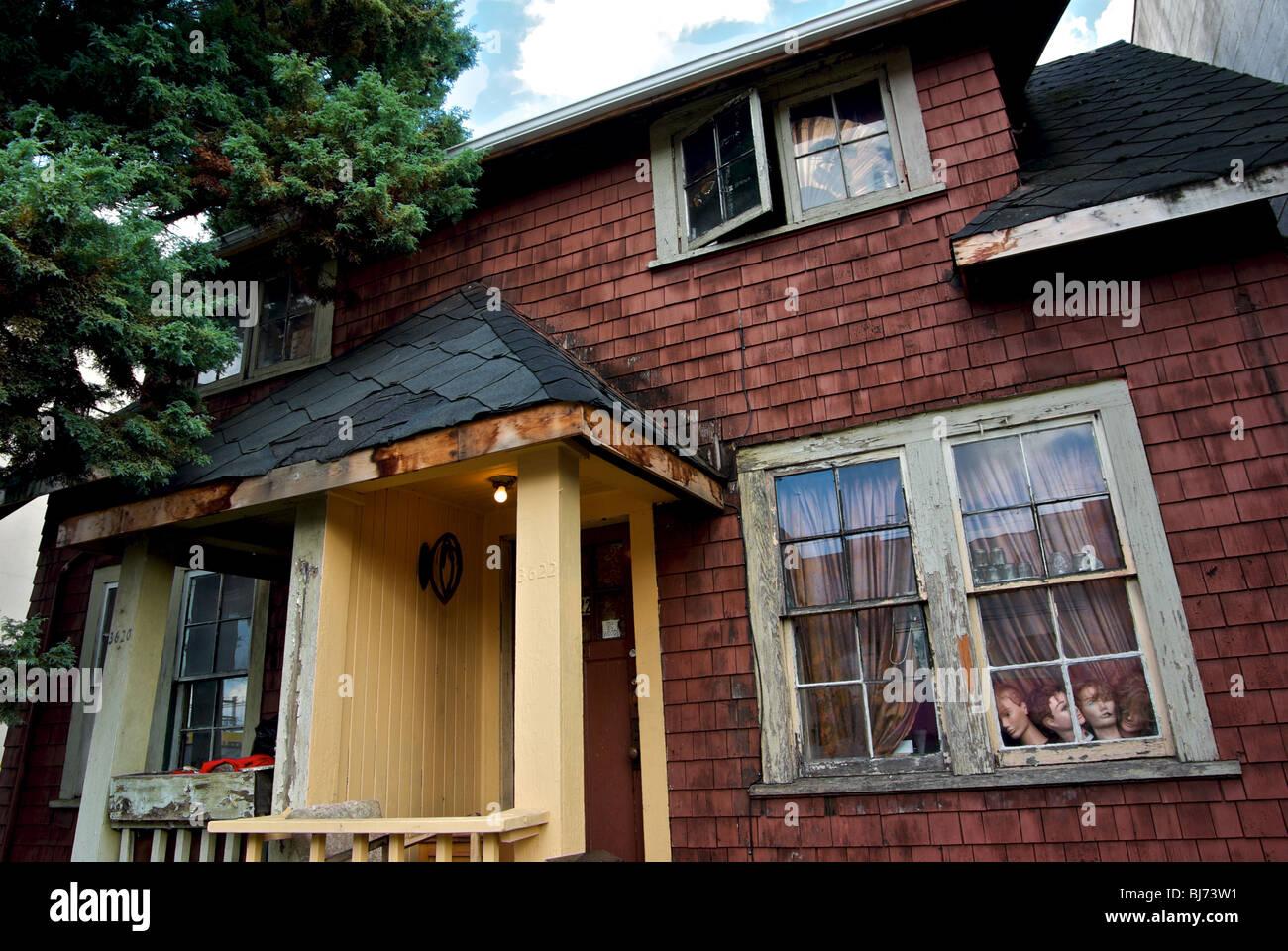 Old Vancouver Mount Pleasant neighborhood rental duplex house in need of repairs - Stock Image