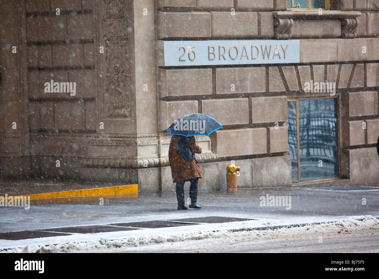Snowing in lower Manhattan, New York City - Stock Image